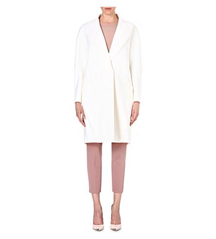 SPORTMAX Long-sleeved wool-blend coat (White