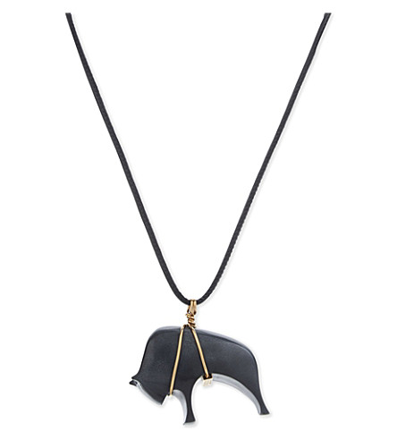SPORTMAX Charging bull pendant leather necklace (Black
