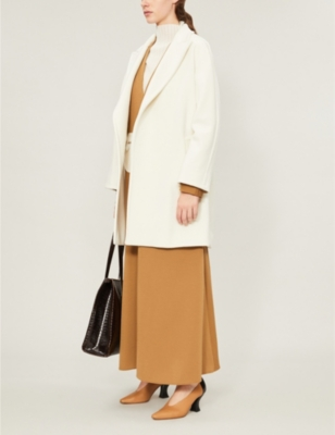 Tie-belt wool and cashmere-blend wrap coat