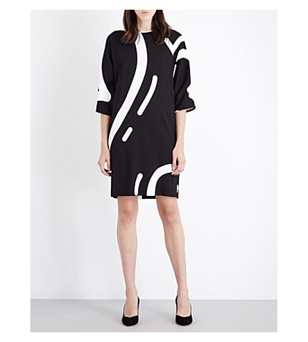 MAX MARA Rete heart-print stretch-crepe dress (Black+white