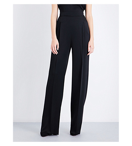 MAX MARA ELEGANTE Re wide-leg satin trousers (Black