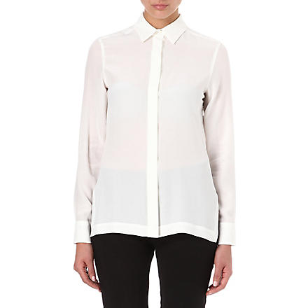SPORTMAX Long-sleeved silk shirt (White
