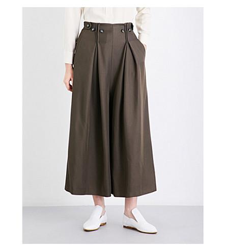 SPORTMAX Roberta wide-leg twill trousers (Khaki