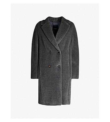 S MAX MARA Rose alpaca and wool-blend teddy coat (Grey