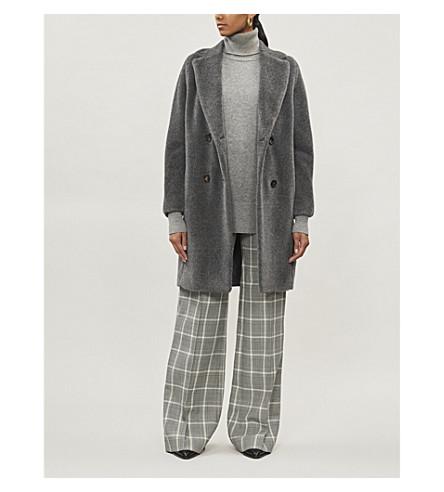 S MAX MARA 玫瑰羊驼毛和羊毛混纺泰迪大衣 (灰色