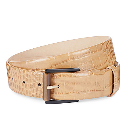 MAX MARA Crocodile-effect leather belt (Camel
