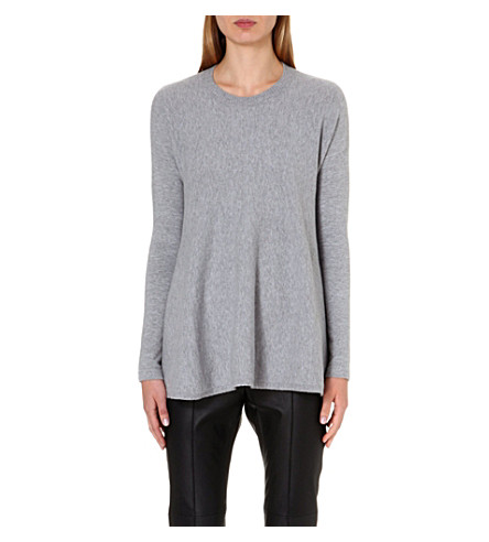 SPORTMAX Sapone flared wool and angora-blend jumper (Grey