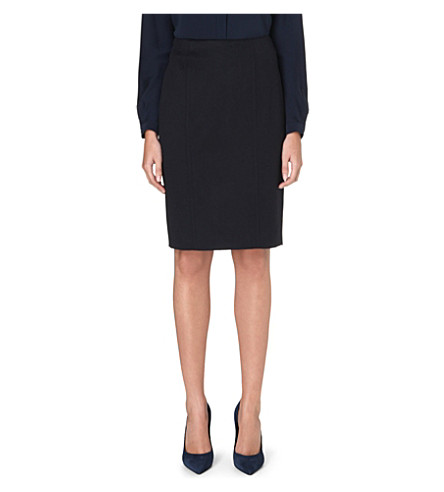 MAX MARA Sargano camel-hair pencil skirt (Navy