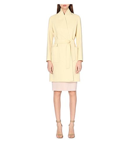 MAX MARA Wool and angora-blend wrap coat (Light yellow