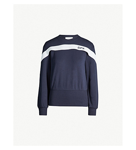 SPORTMAX Segnale cotton-jersey sweatshirt (Midnight+blue