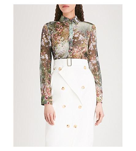 S MAX MARA Selim floral-print silk-chiffon shirt (Green+botanic+print