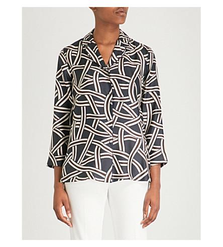 S MAX MARA Selim floral-print silk-chiffon shirt (Navy