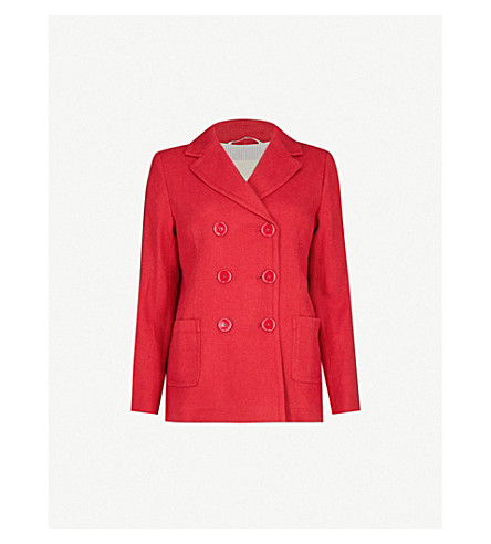 S MAX MARA Double-breasted linen-blend blazer (Red