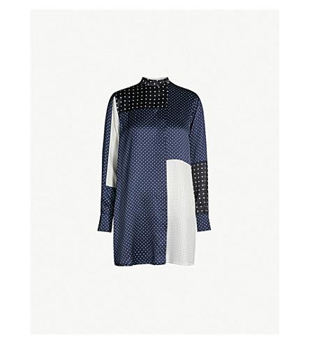 SPORTMAX Severo panelled polka dot silk shirt (Midnight blue