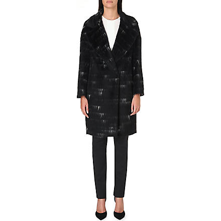 SPORTMAX Sierra alpaca and wool-blend coat (Black/white