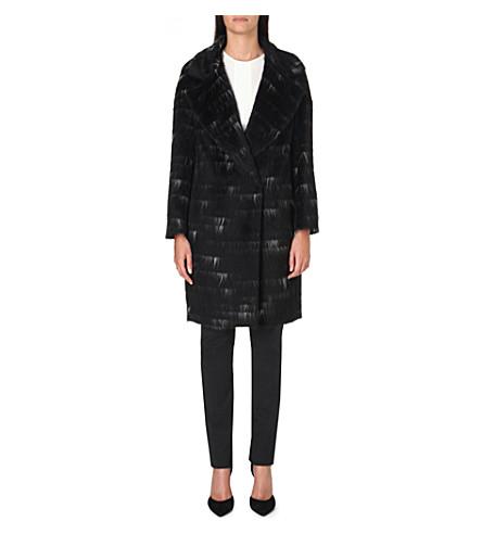 SPORTMAX Sierra alpaca and wool-blend coat (Black/white