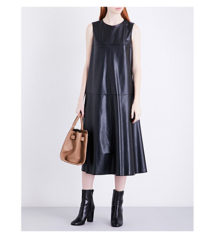 S MAX MARA Song faux-leather shift dress (Black