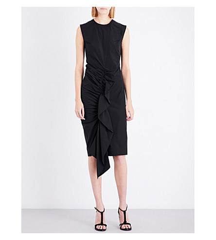 SPORTMAX Ruffle front cotton-blend dress (Black