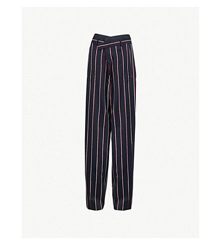 SPORTMAX 蜘蛛羊毛裤子 (午夜 + 蓝色)