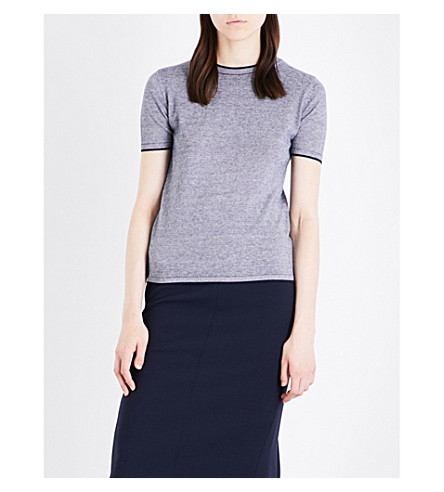 MAX MARA Stampa silk and cashmere top (Navy