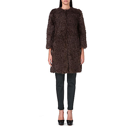 S MAX MARA Textured wool coat (Brown
