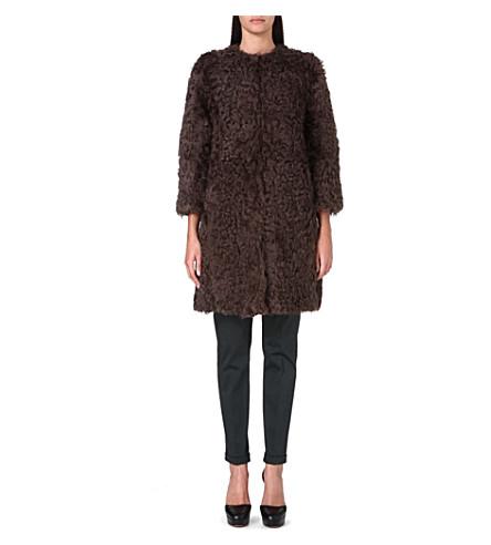 S MAX MARA Textured wool coat (Brown