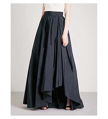 MAX MARA ELEGANTE Tarallo high-rise satin maxi skirt (Navy