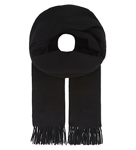 MAX MARA Solid camel-hair scarf (Black