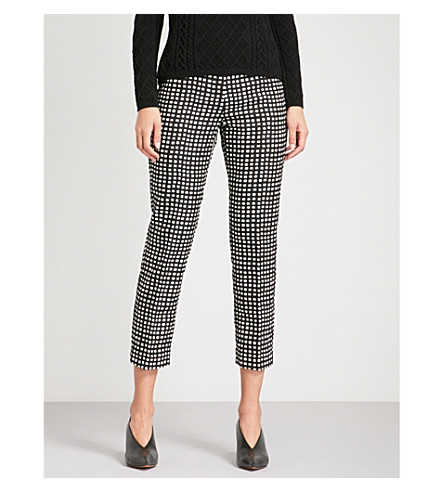 S MAX MARA Tatiana checked tapered high-rise crepe trousers (Black
