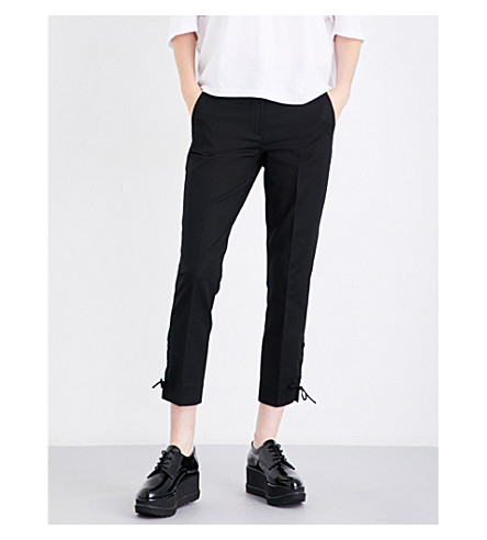 SPORTMAX Teano cropped stretch-cotton trousers (Black