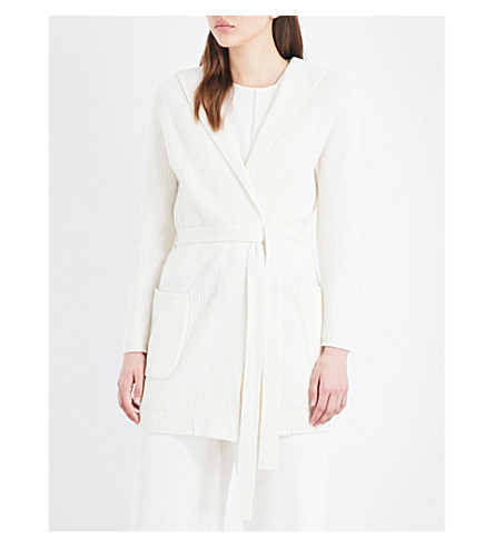 MAX MARA Tecla hooded wool and cashmere-blend cardigan (Ivory