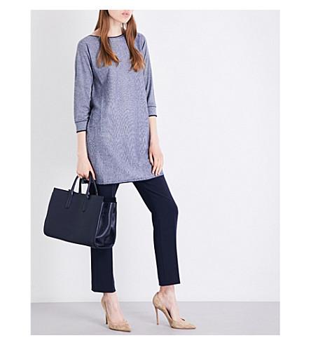 MAX MARA Tenna silk and cashmere-blend top (Navy