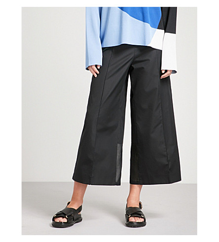 SPORTMAX Tenzone wide-leg mid-rise cotton trousers (Black