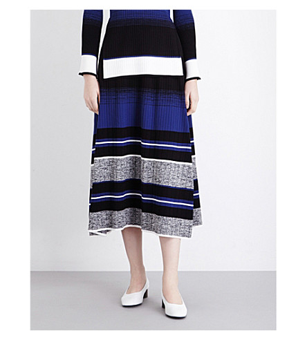 SPORTMAX Terzo striped knitted midi skirt (Blue/black
