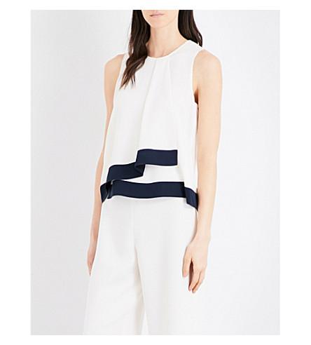 MAX MARA Tessile silk top (Ivory+navy