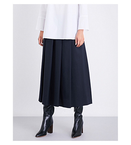 S MAX MARA Pleated wool and silk-blend skirt (Navy