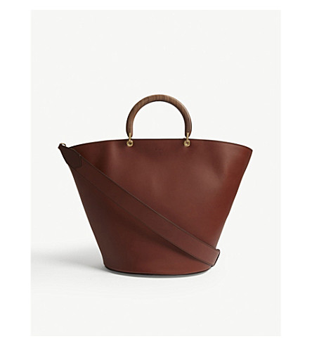 MAX MARA Wooden handle leather bucket tote (Tabacco