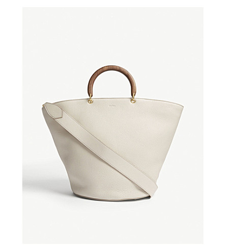 MAX MARA Wooden handle leather bucket tote (Ivory