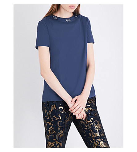 S MAX MARA Ttshirt embellished cotton-poplin top (Navy