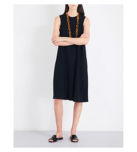 S MAX MARA Tuc sleeveless crepe midi dress (Black