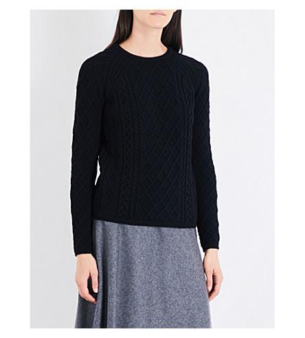 S MAX MARA Turbigo cable-knit wool-blend jumper (Black