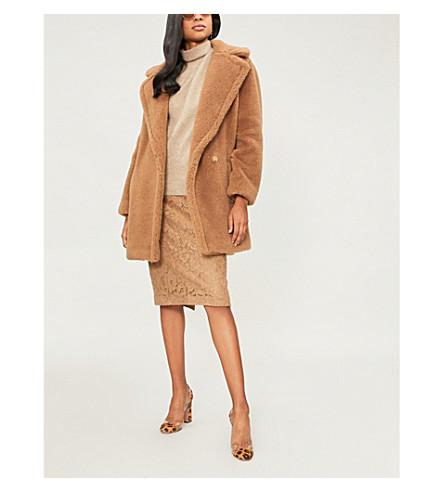 MAX MARA Uberta 双排扣骆驼毛和丝绸混纺大衣 (骆驼