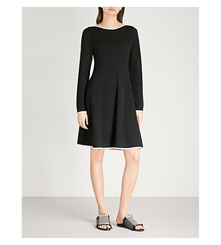 SPORTMAX Ultimo contrast-trims woven dress (Black