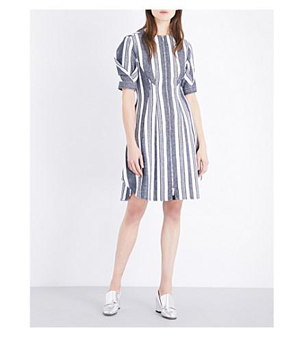 SPORTMAX Umano cotton and linen-blend woven dress (White blue