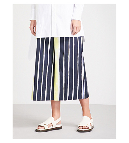 SPORTMAX Striped wide-leg cropped cotton trousers (Optical+white