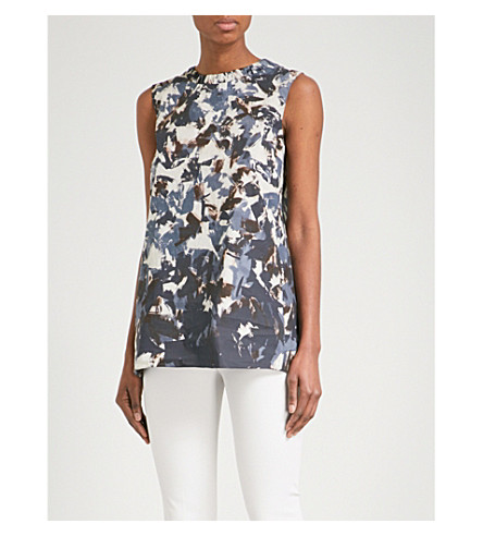S MAX MARA Abstract-print cotton-poplin top (Mutli