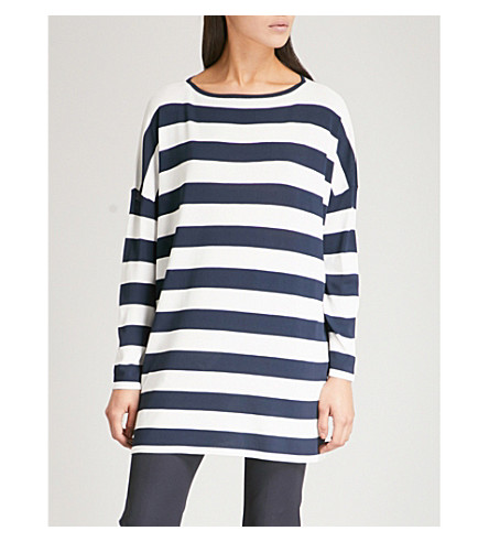 S MAX MARA Striped woven top (Navy+stripe