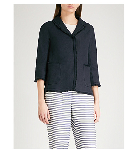S MAX MARA Valeria cropped linen jacket (Navy