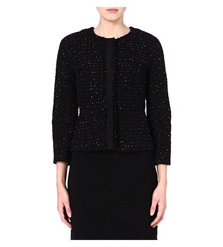 MAX MARA STUDIO Vanessa boucle jacket (Black/red