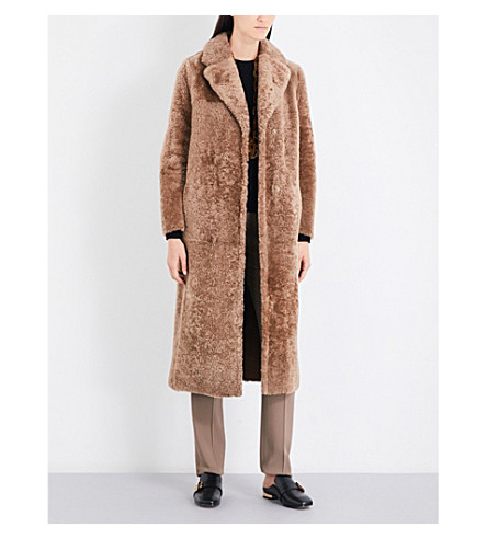 S MAX MARA Veggia shearling coat (Camel